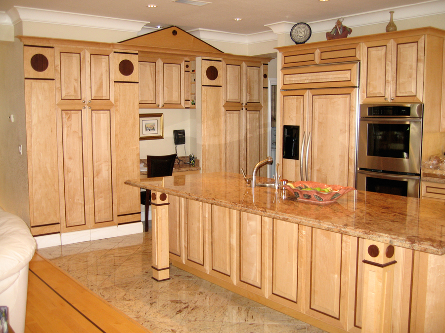 Cabinet refacing on a natural wooden kitchen