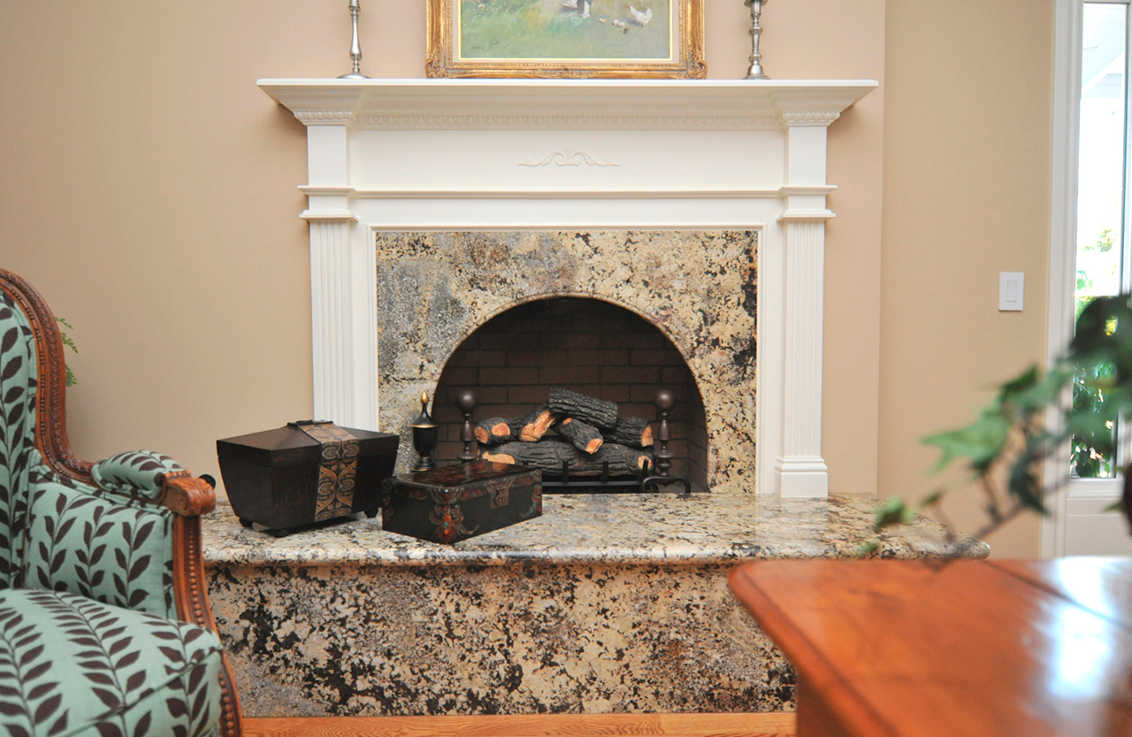 Traditional fireplace with granite facial piece and hearth , San Francisco CA